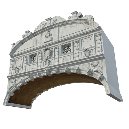 Bridge of Sighs Ponte dei Sospiri between Doges Palace and Prison on white. 3D illustration