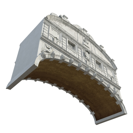 Bridge of Sigh in Venice, Italy on white. 3D illustration