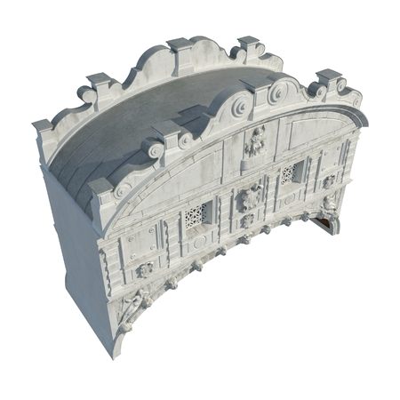 Bridge of Sighs, Ponte dei Sospiri, built in the 16th century, Venice, Italy, Europe on white. 3D illustration