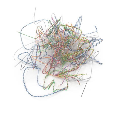 old cables piled up for recycling on white. 3D illustration Standard-Bild