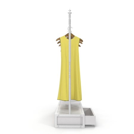 Iron Clothing Display Rack with Dresses on white. 3D illustration