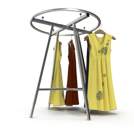 Empty Round Clothing Rack with Dresses on white. 3D illustration Stock Photo