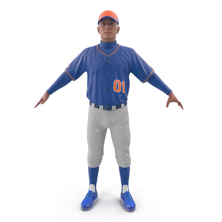 Baseball player on white. Front view. 3D illustration Stock Photo