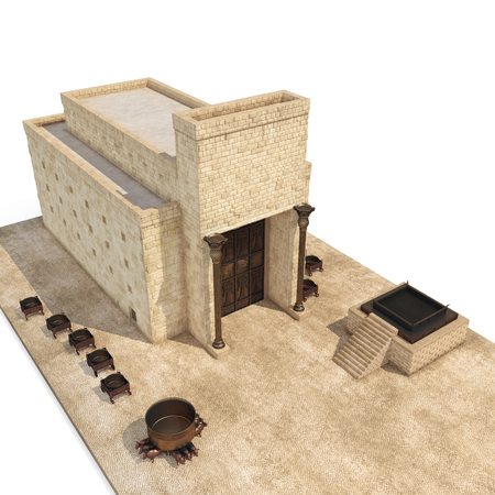 King Solomons temple Beit HaMikdash in hebrew name with large basin call Brazen Sea and bronze altar on white. 3D illustration