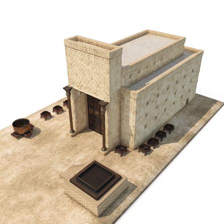 Koning Solomons tempel Beit HaMikdash in Hebreeuwse naam met groot bassin, koperen zee en bronzen altaar op wit. 3D illustratie
