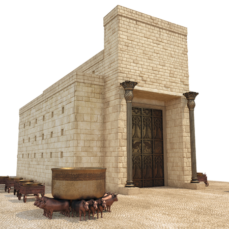 King Solomons temple with large basin call Brazen Sea and bronze altar on white. 3D illustration Imagens