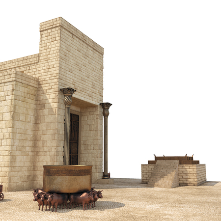King Solomons temple with large basin call Brazen Sea and bronze altar on white. 3D illustration Zdjęcie Seryjne