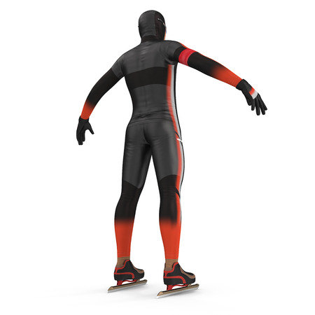 Speed Skater on white. 3D illustration Stock Photo