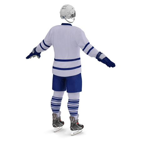 Hockey Gear on white. Rear view. 3D illustration