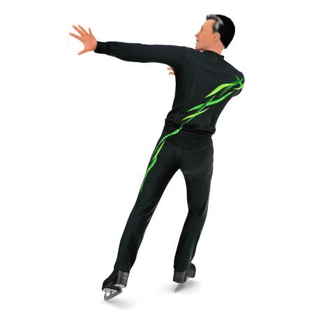 Man on skates isolated on a white. 3D illustration