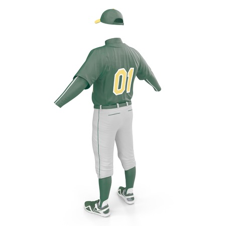 Baseball Clothes on white. Rear view. 3D illustration