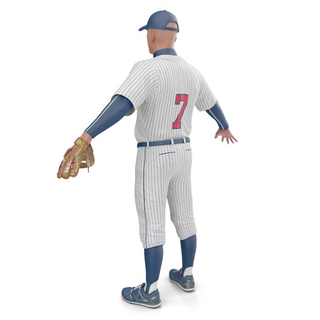 Full length portrait of a male baseball player on white. Rear view. 3D illustration