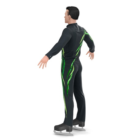 Man on skates isolated on a white. Rear view. 3D illustration