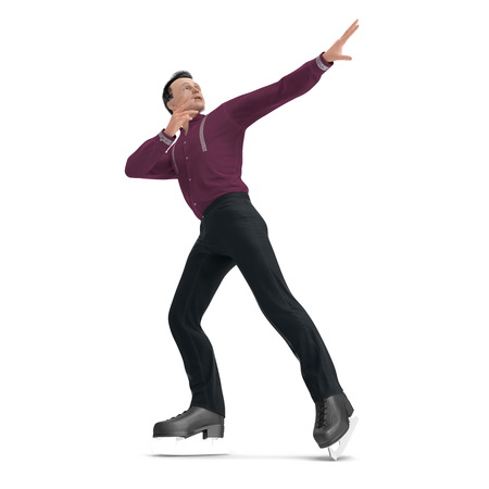 Figure skater on white. 3D illustration