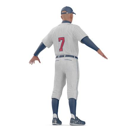 Full length portrait of a male baseball player on white. 3D illustration