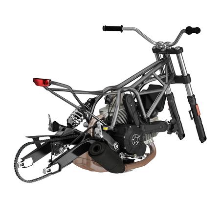 Bike Frame and Engine on white. 3D illustration