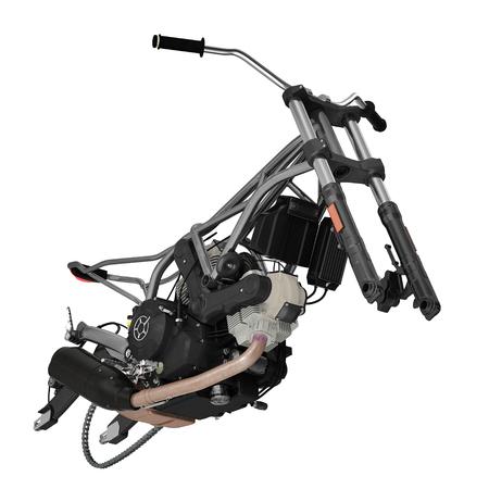 Motor bike Engine block and Frame on white. 3D illustration