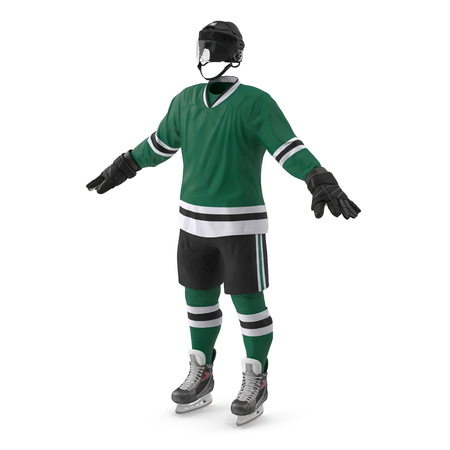 Hockey Gear on white. 3D illustration