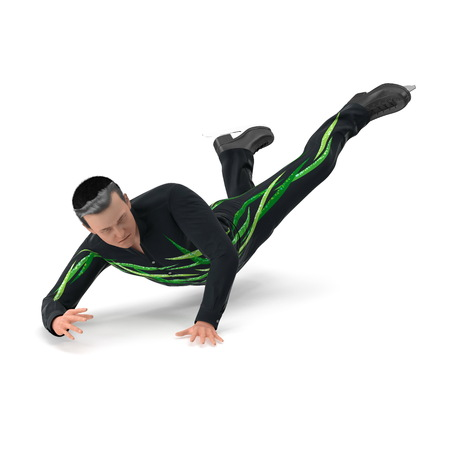 Male Figure Skater Falling Down isolated on a white. 3D illustration Stock Photo