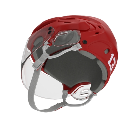 Red Hockey Helmet on white. 3D illustration