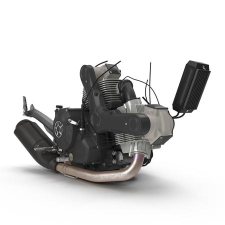 Motor bike Engine block on white. 3D illustration