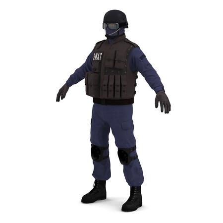 SWAT police officer on white. 3D illustration