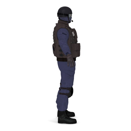 police special forces officer in black uniform isolated on white. 3D illustration Stock Photo