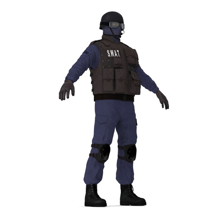police special forces officer in black uniform isolated on white. 3D illustration 写真素材