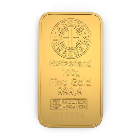 gold bar 100g isolated on white. Top view. 3D illustration