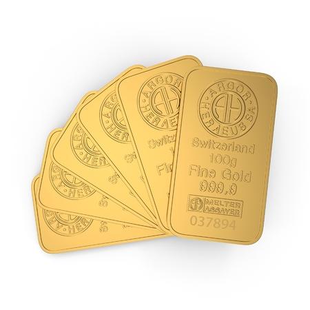 gold bar 100g isolated on white. 3D illustration Redakční