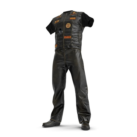 Biker Outfit on white background. 3D illustration