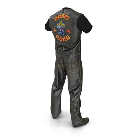 Biker Outfit on white background. 3D illustration Фото со стока - 97192397