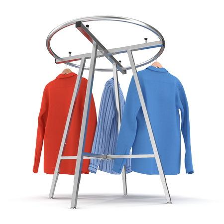 Round Clothing Rack with Shirts on white background. 3D illustration Stock Photo