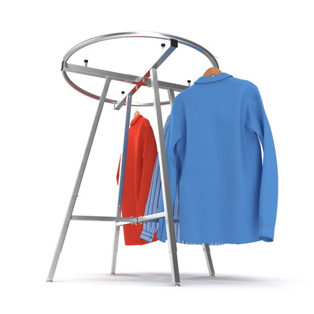 Round Clothing Rack with Shirts on white background. 3D illustration Foto de archivo