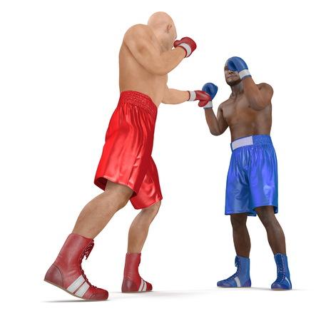 Two men boxer wearing helmet and gloves boxing on white background. 3D illustration