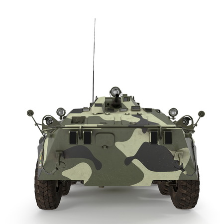 BTR-80 amphibious armoured personnel carrier on white. Front view. 3D illustration