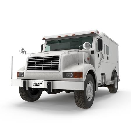 Armored Cash Transport on white. 3D illustration