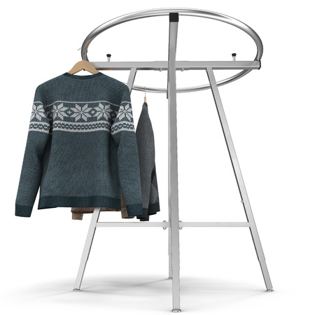 Round Clothing Rack with Sweaters on white. 3D illustration