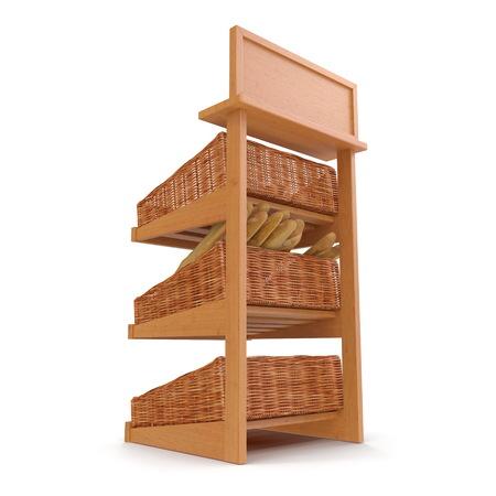 Rattan Bakery Slatted Shelf Fixture on white. 3D illustration