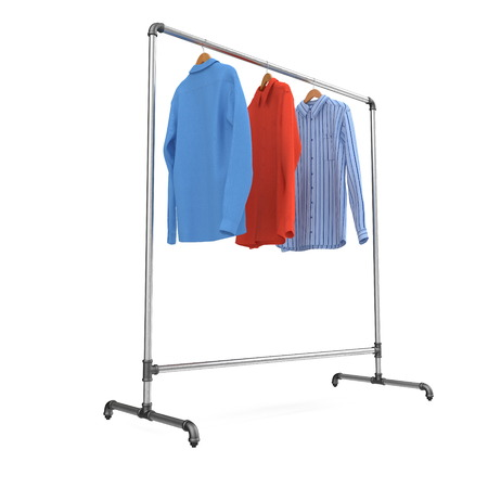 Metall Clothing Display Rack with Shirts on white. 3D illustration Stock Photo
