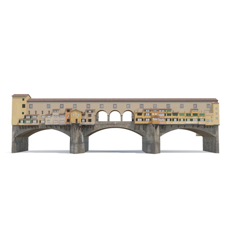 Ponte Vecchio Bridge Florence on white. 3D illustration