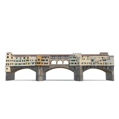 Ponte Vecchio Bridge Florence on white. 3D illustration