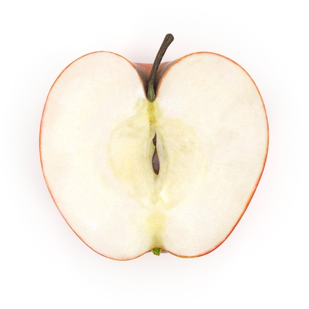 Half Red apple isolated on the white. Top view. 3D illustration
