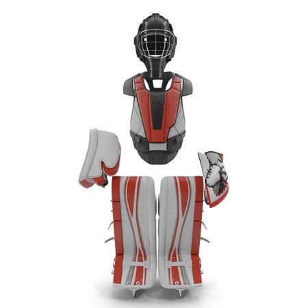 Hockey Goalie Protection Kit on white. Front view. 3D illustration Stock Photo