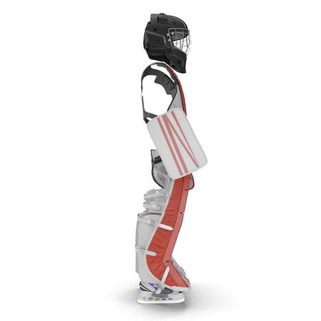 Hockey Goalie Protection Kit on white. Side view. 3D illustration Stock Photo