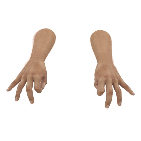 Male Hand Ok sign on white. 3D illustration
