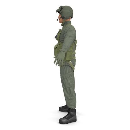 US Military Pilot on white. Side view. 3D illustration