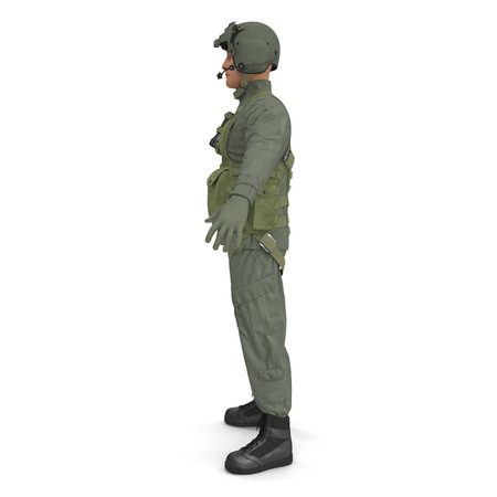 US Military Pilot on white. Side view. 3D illustration