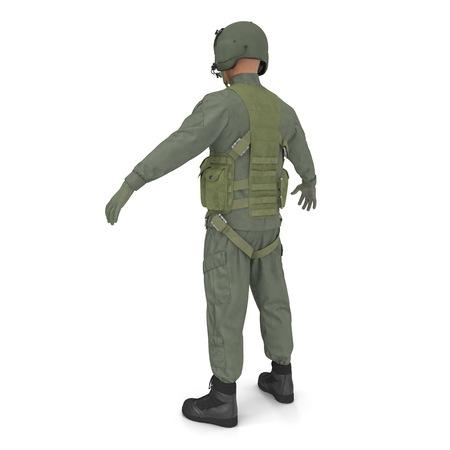 US Military Pilot on white. 3D illustration