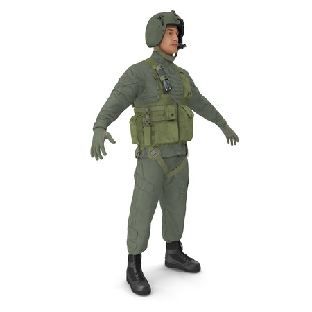 US Military Pilot on white. 3D illustration